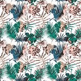 Seamless exotic pattern with tropical leaves. Vector hand draw background Royalty Free Stock Images