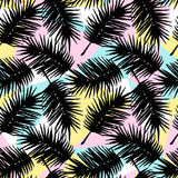 Seamless exotic pattern with tropical palm leaves on geometric background. Royalty Free Stock Photos