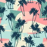Seamless exotic pattern with tropical palms and artistic background. Modern abstract design for paper, cover, fabric, interior decor and other users stock illustration