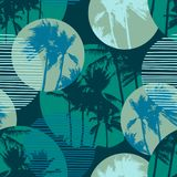 Seamless exotic pattern with tropical palms and geometric background. Modern abstract design for paper, cover, fabric, interior decor and other users vector illustration