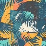 Seamless exotic pattern with tropical plants and artistic background. Modern abstract design for paper, cover, fabric, interior decor and other users Stock Images
