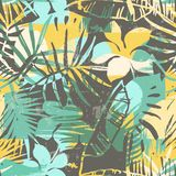 Seamless exotic pattern with tropical plants and artistic background. Modern abstract design for paper, cover, fabric, interior decor and other users Royalty Free Stock Images