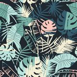 Seamless exotic pattern with tropical plants and artistic background. Modern abstract design for paper, cover, fabric, interior decor and other users Stock Photography