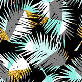 Seamless exotic pattern with tropical plants and geometric background. Stock Photography