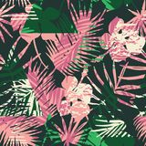 Seamless exotic pattern with tropical plants and geometric background. Stock Photo
