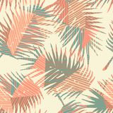 Seamless exotic pattern with tropical plants and geometric background. Royalty Free Stock Photos
