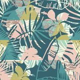 Seamless exotic pattern with tropical plants and geometric background. Hand draw texture Stock Photo