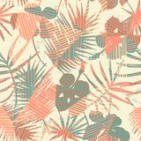 Seamless exotic pattern with tropical plants and geometric background. Royalty Free Stock Images