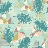 Seamless exotic pattern with tropical plants and geometric background. Hand draw texture Royalty Free Stock Photos