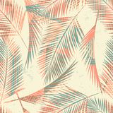 Seamless exotic pattern with tropical plants and geometric background. Royalty Free Stock Photography