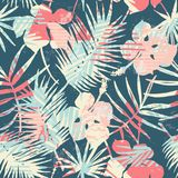 Seamless exotic pattern with tropical plants and geometric background. Stock Image