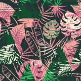 Seamless exotic pattern with tropical plants and geometric background. Royalty Free Stock Photo