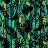 Seamless exotic pattern with tropical plants. Stock Photography