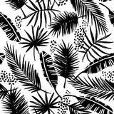 Seamless exotic pattern with tropical plants. Royalty Free Stock Image