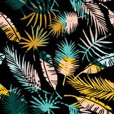 Seamless exotic pattern with tropical plants. Stock Photos