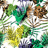 Seamless exotic pattern with tropical plants. Royalty Free Stock Photography