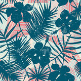 Seamless exotic pattern with tropical plants. Vector hand draw background Royalty Free Stock Photos