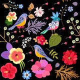 Seamless exotic pattern witn funny birds and bright flowers isolated on black background in vector. Print for fabric, paper. Wallpaper royalty free illustration