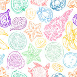 Seamless exotic sketch fruits Royalty Free Stock Image