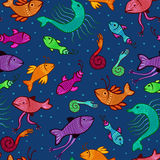 Seamless extraordinary sea creatures. Seamless pattern - colorful fantasy fish in deep waters Royalty Free Stock Photo