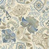 seamless färgrik blom- modell Paisley prydnad dekorativa blommor Planlägg för tyger, kort, rengöringsduken, decoupage stock illustrationer
