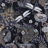seamless färgrik blom- modell Växtprydnad Dekorativt blommor och gräs Planlägg för tyger, kort, rengöringsduken, textil stock illustrationer