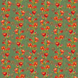 Seamless fabric design with exquisite red botanical freesia flower Royalty Free Stock Images