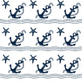 Seamless fabric nautical theme. Blue outline image on white background. You can use for decoration, background, texture, packaging. Drawn by wave and anchor Royalty Free Stock Photography