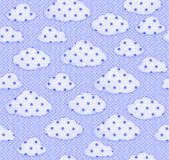 Seamless fabric pattern blue sky and white clouds. Stock Photo