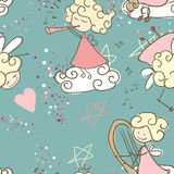 Seamless Fairy. Pattern design in Blue Royalty Free Stock Image