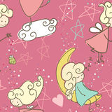 Seamless Fairy. Pattern design in Pink Stock Image