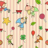 Seamless fairy children pattern Stock Illustration
