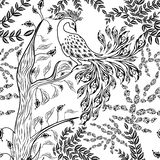 Seamless fairy fantasy garden forest bird sketched pattern stock illustration