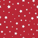 Seamless fairytale pattern with white little stars on red background. Vector illustration. Magic fireworks. Bright Stardust background. Christmas holiday Stock Photos