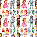 Seamless fairytales characters with prince and princess Royalty Free Stock Photos