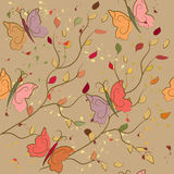 Seamless fall pattern with butterflies Royalty Free Stock Photo