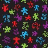 Seamless  pixel monkeys pattern. Seamless  falling pixel monkey pattern Stock Photo