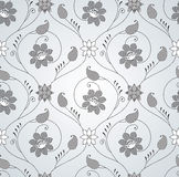 Seamless fancy silver floral wallpaper Royalty Free Stock Photography