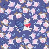 Seamless fantasy pattern with flying unicorns and blue butterflies among rose flowers.  royalty free illustration