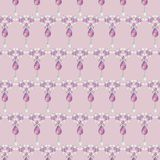 Seamless fashion ornament crystal, pink and silver rhinestones. Royalty Free Stock Photo
