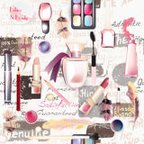 Seamless fashion pattern with cosmetic. Beauty and fashion seamless pattern from vector watercolor cosmetics make up artists objects lipstick, nail, perfumes Stock Image