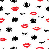 Seamless fashion pattern. Red lips, black eyes and eyelashes on Royalty Free Stock Photo