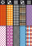 Seamless fashion patterns, vector set Stock Photo