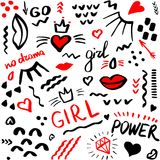 Seamless fashion power girl pattern with brush strokes. Vector i. Seamless fashion power girl pattern with brush strokes. Design backgrounds for wallpaper, print vector illustration