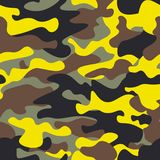 Seamless fashion wide woodland and yellow camo pattern illustration for your design.Classic clothing style masking camo rep stock illustration