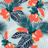 Seamless fashionable abstract graphical hand drawing orange hibiscus flowers print on vintage blue background. Tropical summer, spring background royalty free illustration