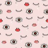 Seamless fashionable pattern of open and closed eyes, lips, hear