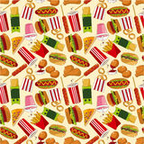 Seamless fast food pattern. Drawing Stock Photo