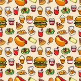 Seamless fast food pattern Stock Photo