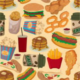 Seamless fast food pattern Royalty Free Stock Photos